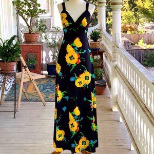 Vintage 70s i.MAGNIN & Co Black Floral Maxi Dress